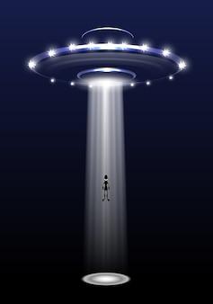 Ufo und ausländer auf nachthintergrund.