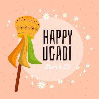 Ugadi-ereignis mit handgezeichnetem entwurf