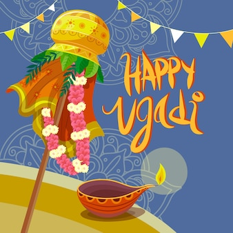 Ugadi festival mit handgezeichnetem design Kostenlosen Vektoren