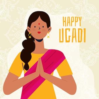 Ugadi festival mit handgezeichnetem stil mit frau