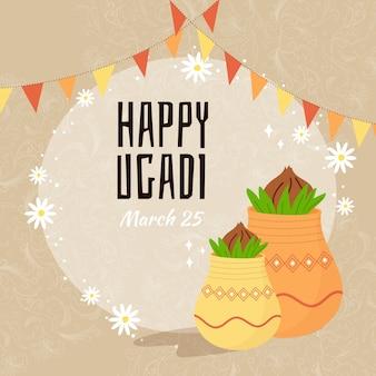 Ugadi festival mit handgezeichnetem stil