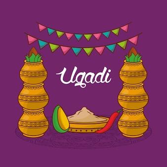 Ugadi traditionelle feier dekorative kalash girlande Premium Vektoren