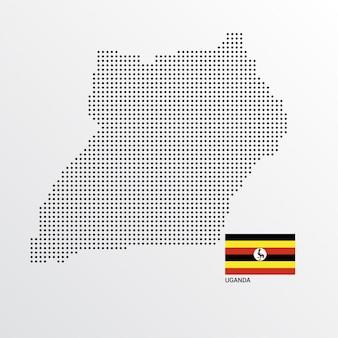 Uganda-kartenentwurf mit flaggen- und hellem hintergrundvektor