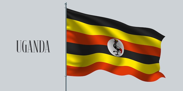 Uganda weht flagge auf fahnenmast