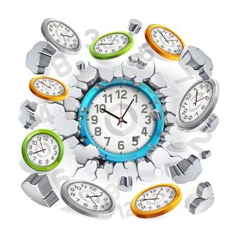 Uhr, die durch den betonwandhintergrund bricht.