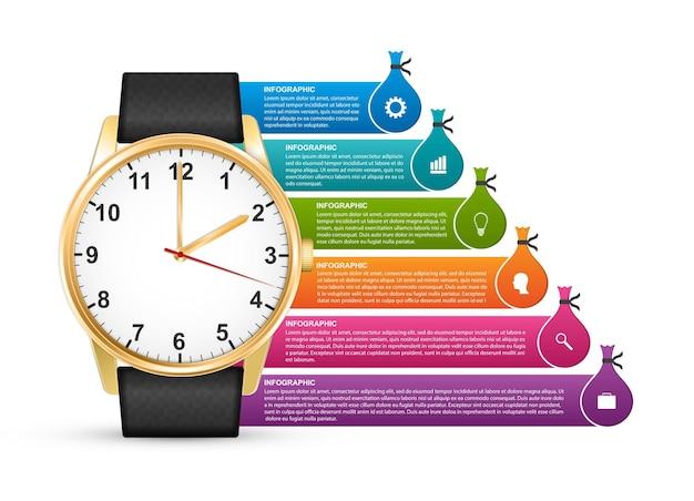 Uhr mit aufklebern für broschüren und präsentationen