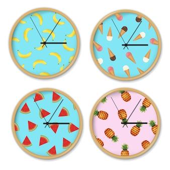 Uhr mit bananenmustersatz-verlaufsgitter, illustration