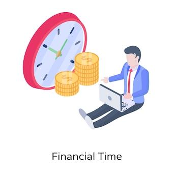 Uhr mit geld, das konzept der isometrischen konzeptikone der finanziellen zeit bezeichnet