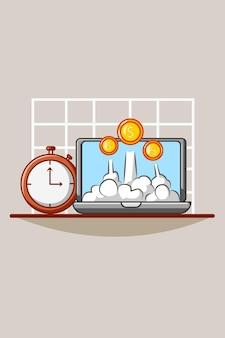Uhr mit laptop- und geldkarikaturillustration
