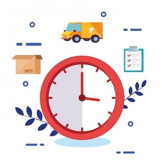 Uhr mit logistischen service-symbolen