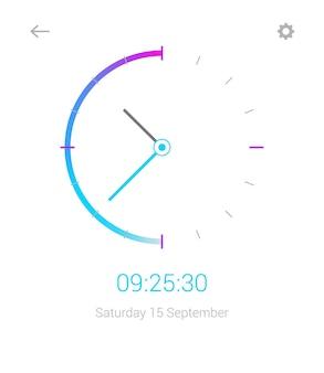 Uhr mobile app-konzept ui-design tag und nacht uhr-benutzeroberfläche