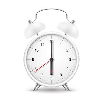 Uhr oder weckerzeit, realistische uhr mit morgenring. weiße weiße runde des retro-weckers mit rotem pfeil und schwarzen minuten- und sekundenzeigern auf dem zifferblatt