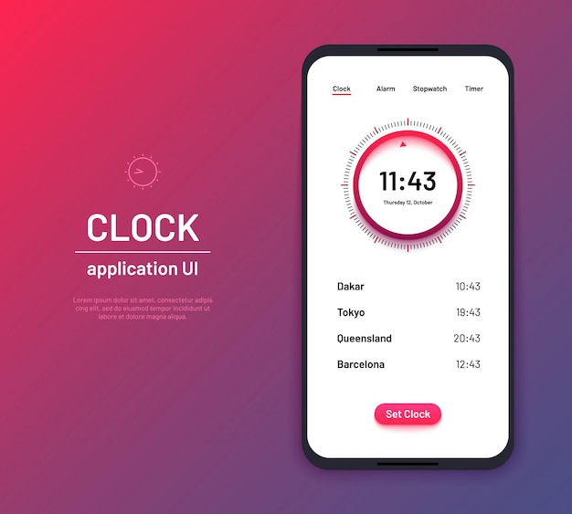 Uhr ui. time countdown interface kit. moderne uhr bildschirm telefon anwendung vektor layout illustration,