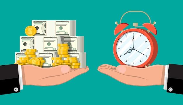 Uhr und geld auf hand skaliert illustration