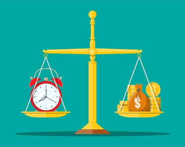 Uhr und goldene münzen auf waage. jährliche einnahmen, finanzielle investitionen, ersparnisse, bankeinlagen, zukünftige einnahmen, geldleistungen. zeit ist geldkonzept. im flachen stil