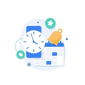 Uhr- und kalenderbenachrichtigungfinanzkalender