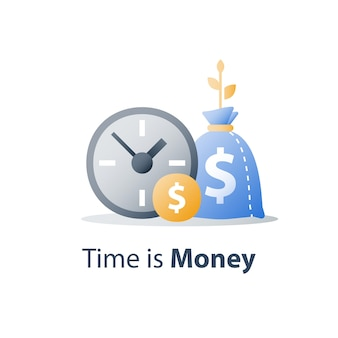 Uhr und tasche, zeit ist geld, schneller kredit, schneller kredit, zahlungszeitraum, sparkonto, finanzieller vorteil, symbol