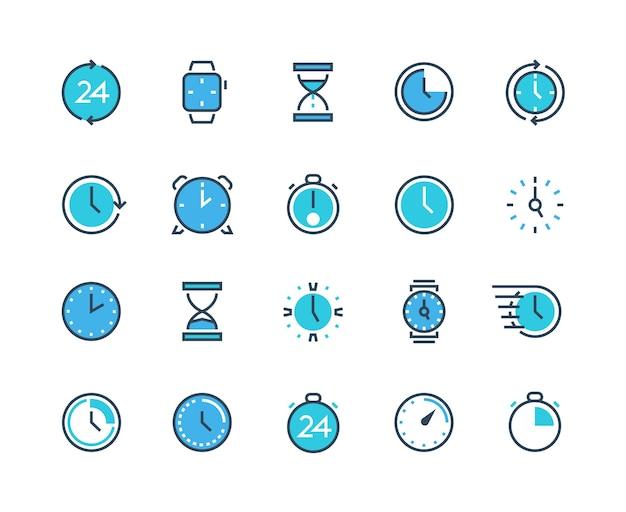 Uhr- und zeitsymbole. infografik-symbole für uhr, kalender, alarm und chronograph für zeitmanagement und arbeitsorganisation. vektorlinienuhren mit sand, stoppuhr