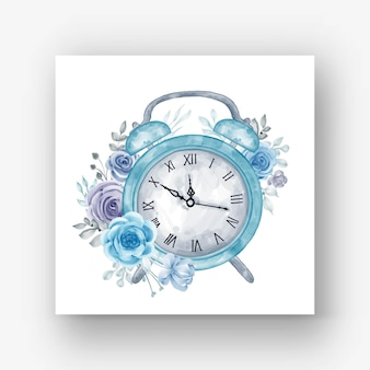 Uhr wecker blume blaue aquarellillustration blue