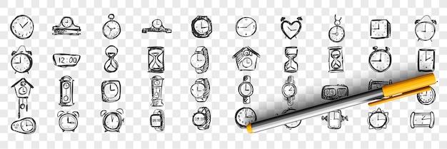 Uhren gekritzel gesetzt. sammlung von hand gezeichneten vorlagen skizziert muster von männlichen weiblichen handtaschen-timern und uhren auf transparentem hintergrund. modischer lebensstil und einkaufsillustration.