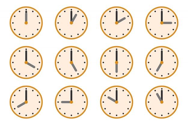 Uhren mit unterschiedlichen zeiten. uhrensymbole