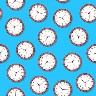 Uhren nahtloses muster auf einem blauen hintergrund. uhr thema vektor-illustration ansehen