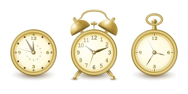 Uhren- und weckersammlung im goldenen design.