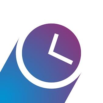 Uhrsymbol im trendigen flachen stil mit blauem schatten