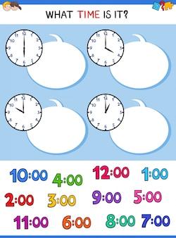 Uhrzeit uhr gesicht cartoon aufgabe zu erzählen