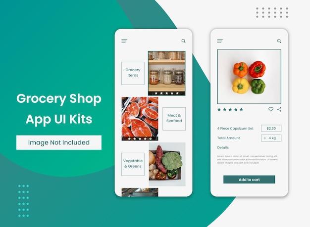 Ui-design der online-lebensmittelgeschäft-app