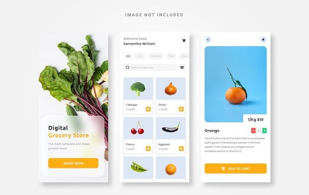 Ui-design lebensmitteldesign-app