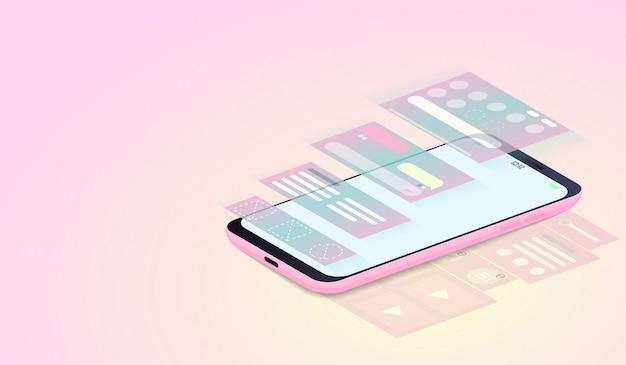 Ui-design und webdesign auf isometrischem smartphone