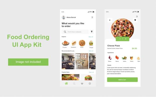 Ui-kit für die restaurant-app zur essensbestellung