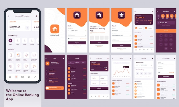 Ui-kit für mobile online-banking-apps mit unterschiedlichem layout, einschließlich anmelde-, konto-, geld-, anmelde-, auflade- und benachrichtigungsbildschirmen.