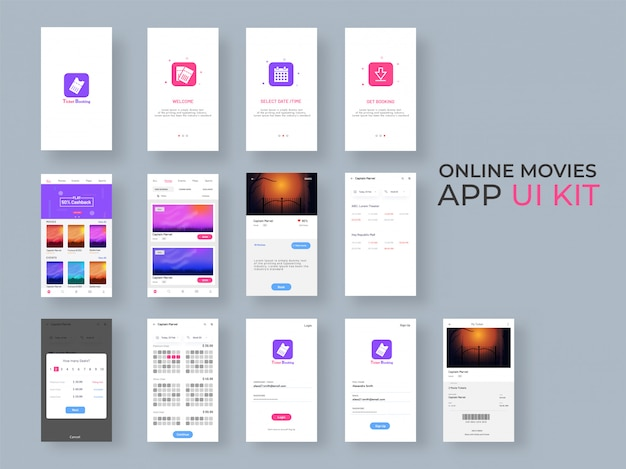 Ui-kit für online-film-apps für responsive mobile apps