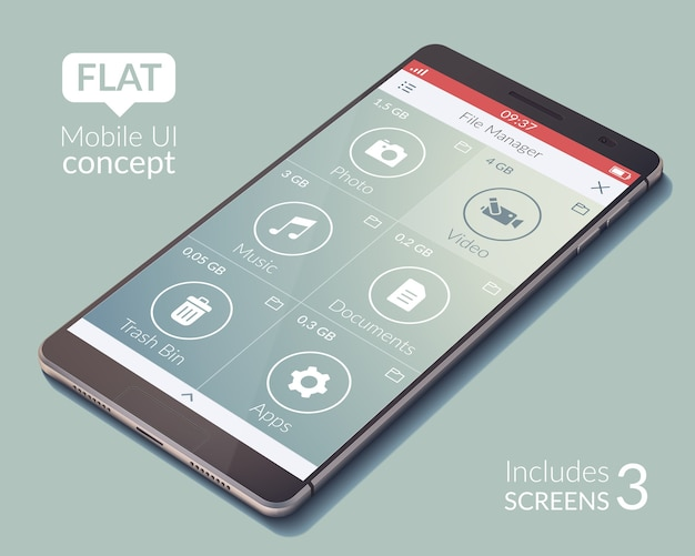 Ui-konzept für mobile anwendungsschnittstellen mit flachem design