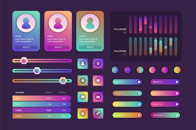 Ui/ux-elementsammlung mit farbverlauf