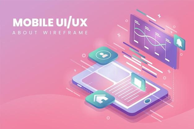 Ui-ux-hintergrund mit farbverlauf illustriert