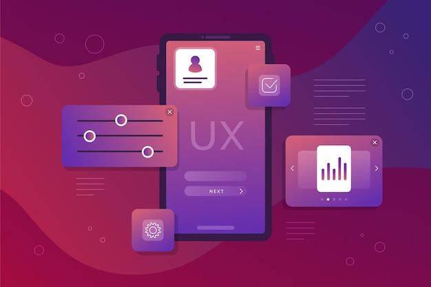 Ui/ux-hintergrund mit farbverlauf