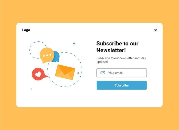 Ui website-design-vorlage für e-mail-marketing zum abonnement des newsletters