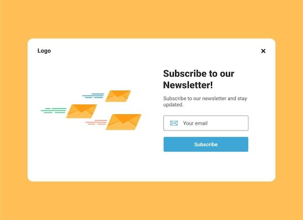 Ui-website-designvorlage für e-mail-marketing für das abonnement des newsletters