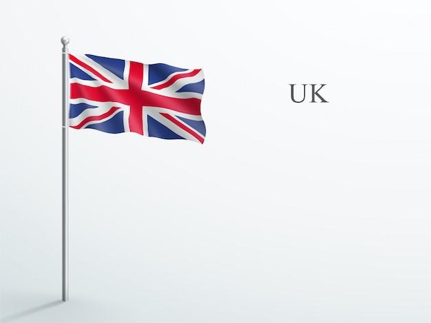 Uk flag 3d element winken auf stahl fahnenmast