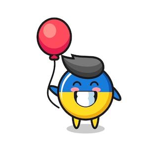 Ukraine flagge abzeichen maskottchen illustration spielt ballon, niedliches design für t-shirt, aufkleber, logo-element