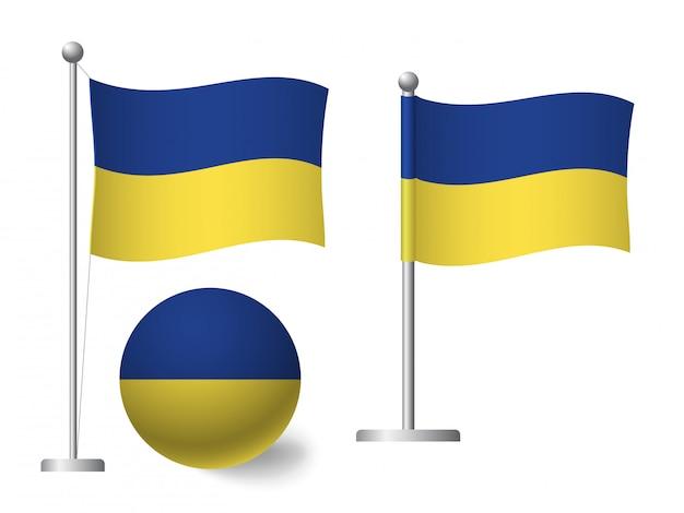 Ukraine flagge auf stange und ballikone