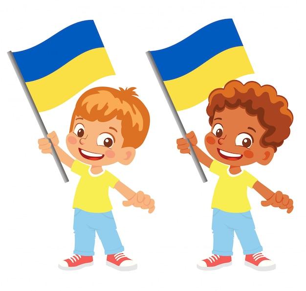 Ukraine flagge in hand gesetzt