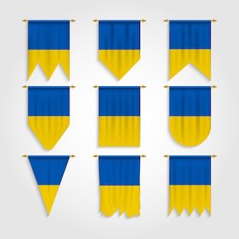 Ukraine flagge in verschiedenen formen