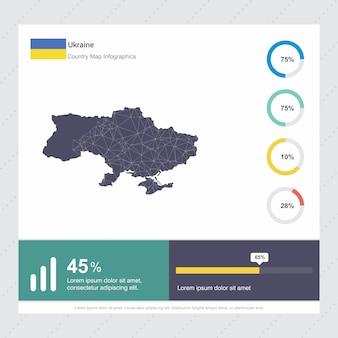 Ukraine karte & flagge infografik vorlage