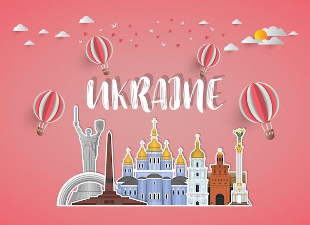 Ukraine landmark global travel and journey papier hintergrund.