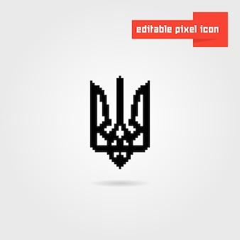 Ukrainisches emblem der schwarzen pixelkunst. konzept der symbolik, kiew, auszeichnung, ukrainische revolution, tourismus. isoliert auf weißem hintergrund. flacher stiltrend moderne logo-design-vektor-illustration