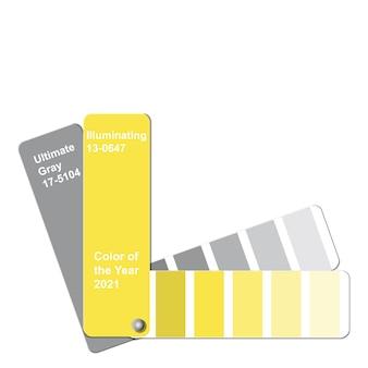 Ultimate grey and illuminating, farbe des jahres 2021, musterfarbmuster-leitfaden für trendfarbpaletten Premium Vektoren